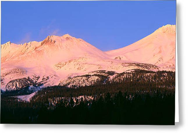 Winterscape Greeting Cards - Mount Shasta At Sunset, California Greeting Card by Panoramic Images