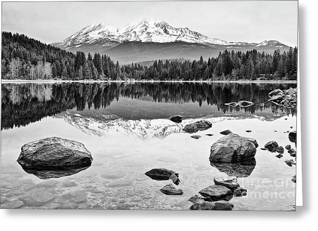 Mount Shasta From Lake Siskiyou In California Greeting Card by Jamie Pham