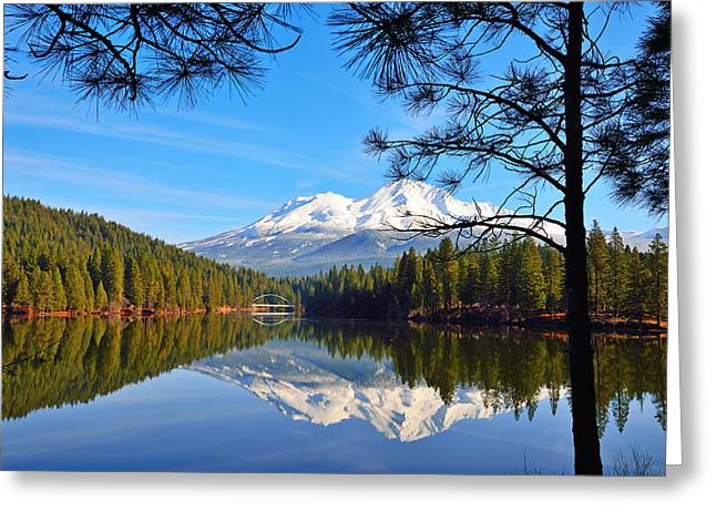 Mount Shasta Reflections On The Lake Greeting Card by Kathy Yates
