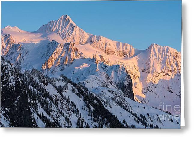 Mount Shuksan Alpenglow Greeting Card by Mike Reid
