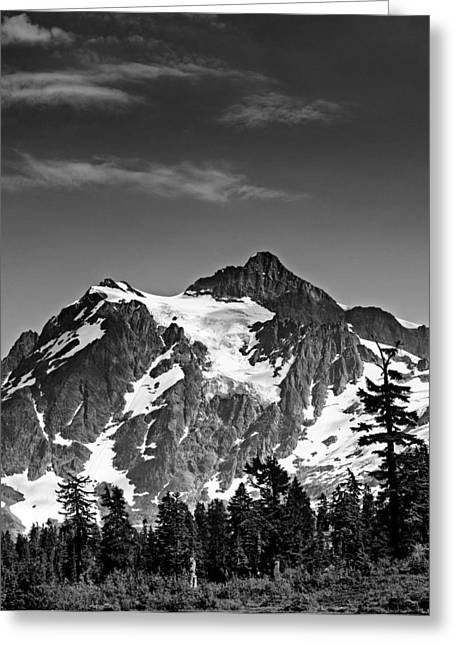 Snow Capped Greeting Cards - Mount Shuksan Black and White Cascade Mountains Washington Greeting Card by Brendan Reals