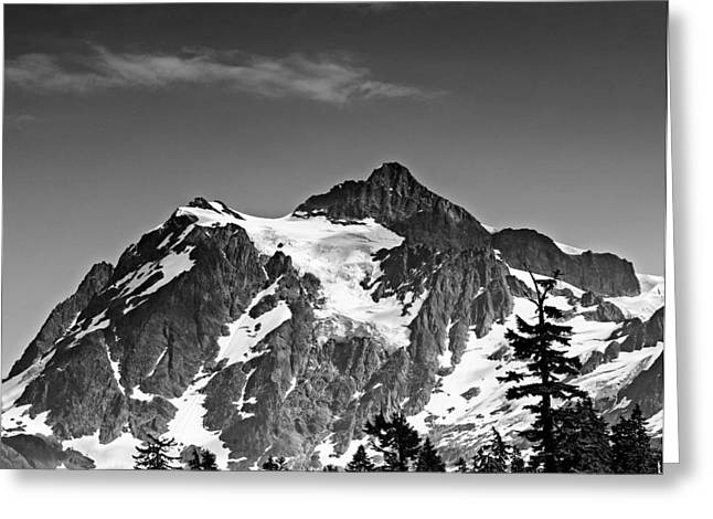 Mount Shuksan Black and White Cascade Mountains Washington Greeting Card by Brendan Reals