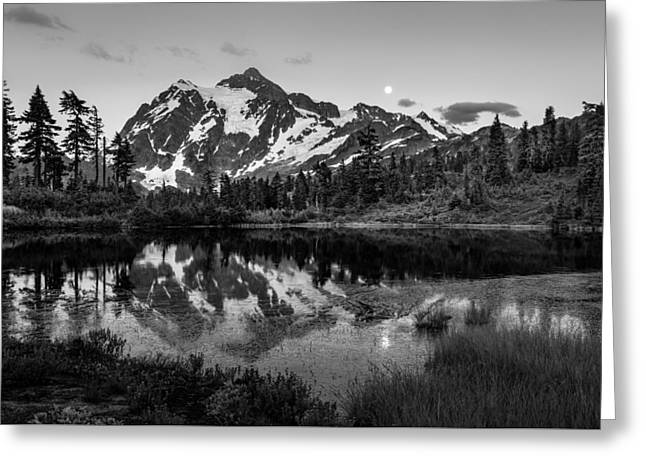 Moonrise Greeting Cards - Mount Shuksan BW Greeting Card by Mike Penney