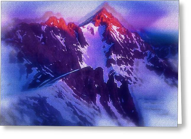 Mario Carini Paintings Greeting Cards - Mount Snaefell at the Summit Greeting Card by Mario Carini