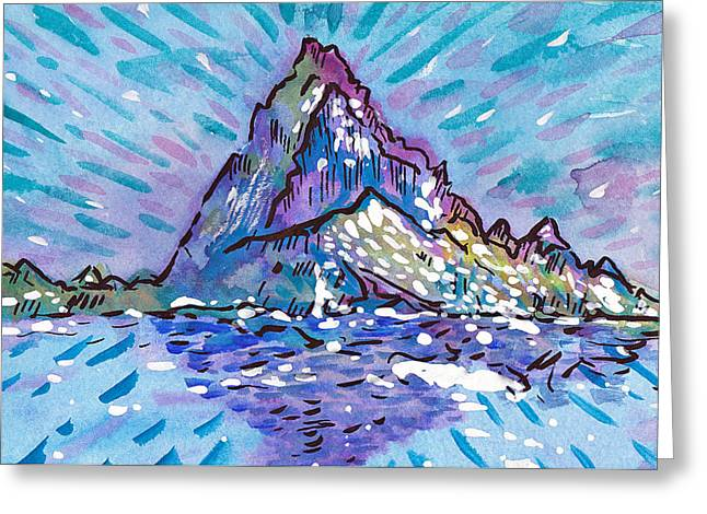 Snow Capped Drawings Greeting Cards - Mount Struggle Greeting Card by Mike Brennan