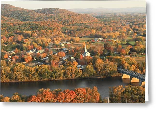 Deerfield River Greeting Cards - Mount Sugarloaf Sunderland Autumn Greeting Card by John Burk