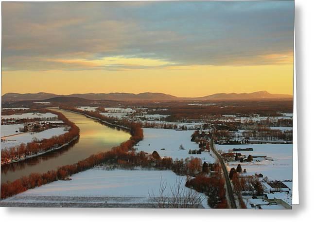 Deerfield River Greeting Cards - Mount Sugarloaf Winter Sunset Greeting Card by John Burk