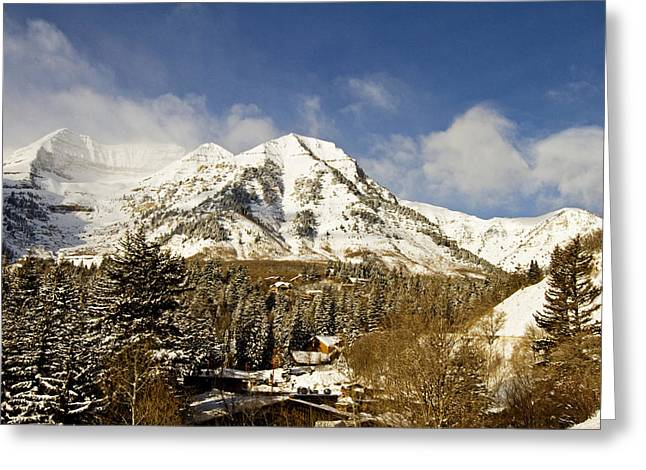 Snow-covered Landscape Greeting Cards - Mount Timpanogos Greeting Card by Scott Pellegrin