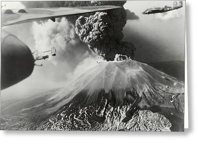 Period Greeting Cards - Mount Vesuvius Coughs Up Ash And Smoke Greeting Card by Us Army Air Forces Official