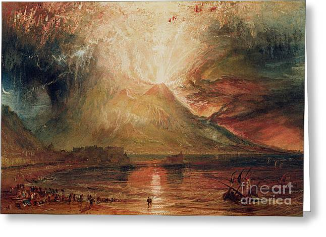 People Paintings Greeting Cards - Mount Vesuvius in Eruption Greeting Card by Joseph Mallord William Turner
