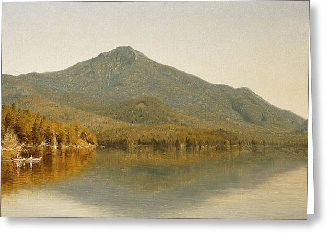 Water Vessels Greeting Cards - Mount Whiteface from Lake Placid Greeting Card by Albert Bierstadt