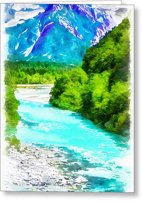 Anthony J Caruso Greeting Cards - Mountain and River Greeting Card by Anthony Caruso