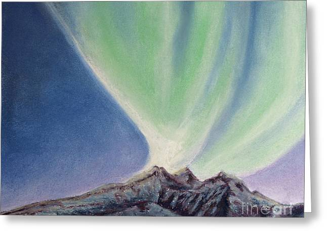 Surreal Landscape Pastels Greeting Cards - Mountain Aurora Greeting Card by Stanza Widen