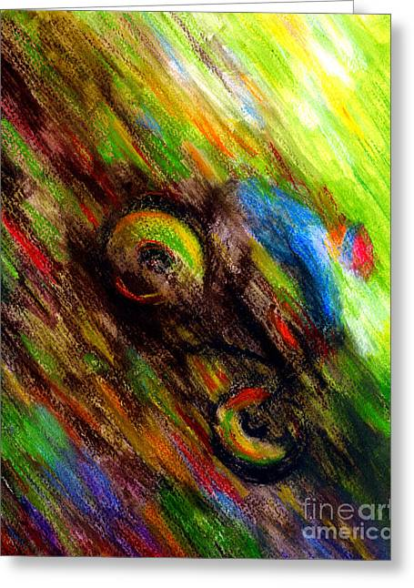 Single Pastels Greeting Cards - Mountain Bike Rider Greeting Card by Dion Dior
