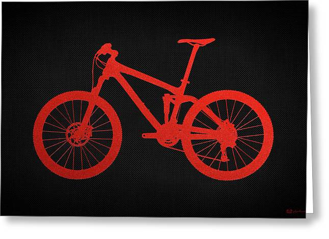 Ultra Modern Greeting Cards - Mountain Bike Silhouette - Red on Black Canvas Greeting Card by Serge Averbukh
