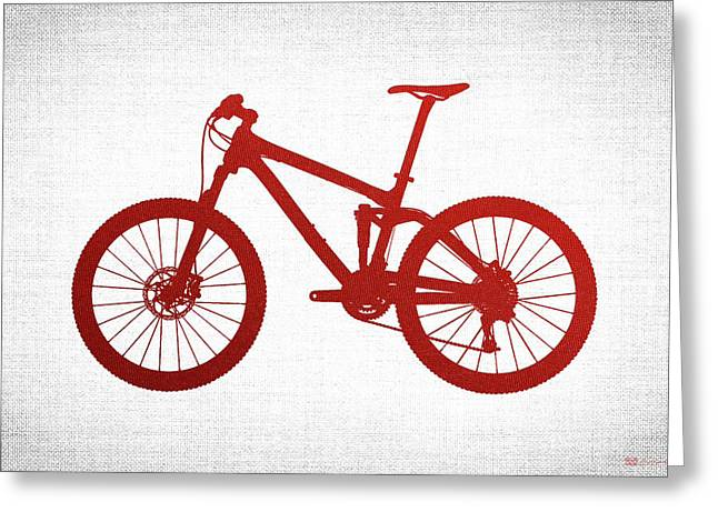 Ultra Modern Greeting Cards - Mountain Bike Silhouette - Red on White Canvas Greeting Card by Serge Averbukh