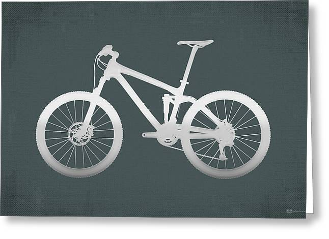 Ultra Modern Greeting Cards - Mountain Bike Silhouette - Silver on Volcanic Rocks Gray Canvas Greeting Card by Serge Averbukh