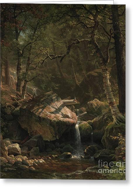 Mountain Brook Greeting Card by Albert Bierstadt