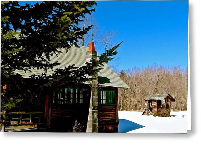 Outbuildings Greeting Cards - Mountain Cabin 3 Greeting Card by Elizabeth Tillar