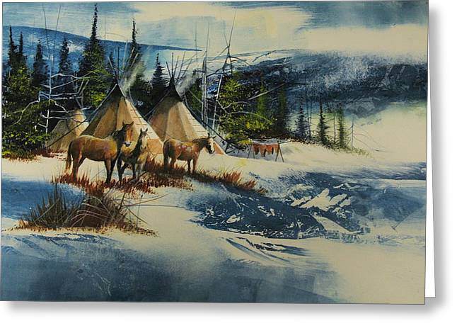 Mountain Camp Greeting Card by Robert Carver