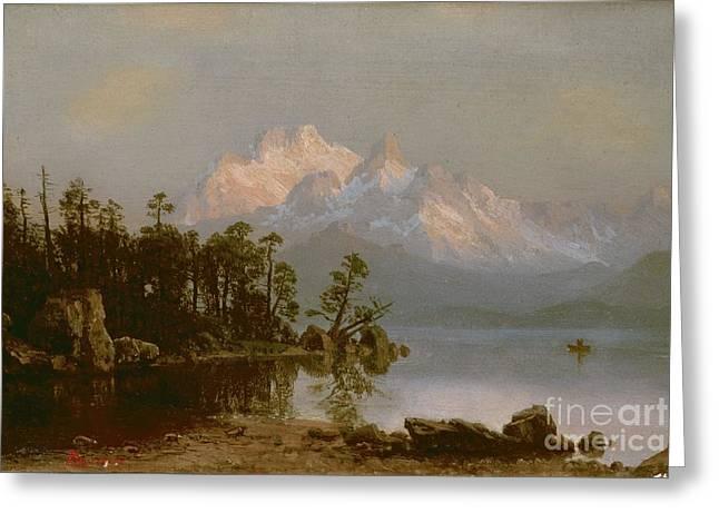 Bierstadt Greeting Cards - Mountain Canoeing Greeting Card by Albert Bierstadt