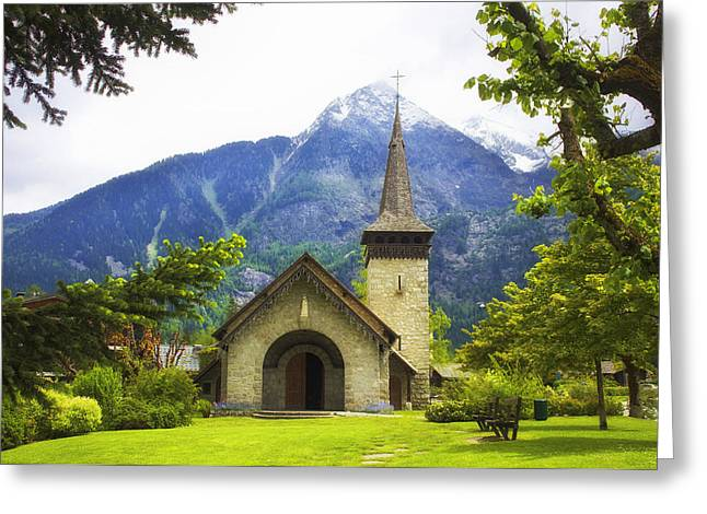 Stone Ground Greeting Cards - Mountain Church In France Greeting Card by Tesa