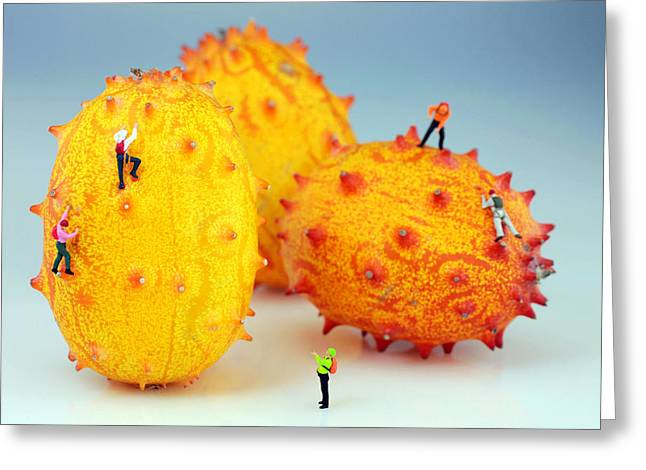 Mango Greeting Cards - Mountain climber on mangosteens Greeting Card by Paul Ge