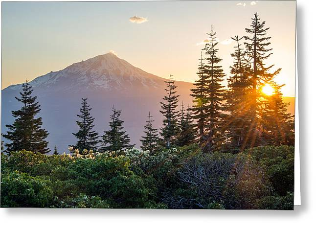 Mountain Evening Greeting Card by Leland D Howard