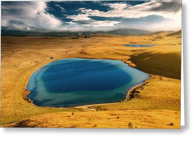 Field. Cloud Greeting Cards - Mountain eyes Greeting Card by Radisa Zivkovic