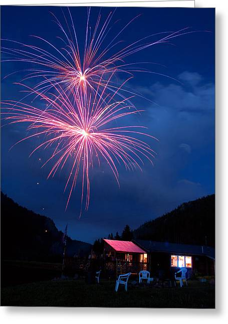 4th Of July Prints Greeting Cards - Mountain Fireworks landscape Greeting Card by James BO  Insogna