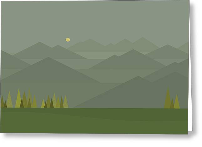 Moonrise Greeting Cards - Mountain Fog Greeting Card by Val Arie