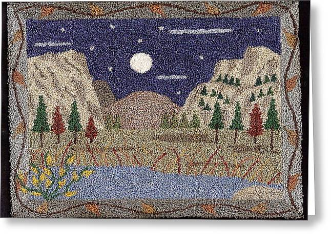 Primitive Tapestries - Textiles Greeting Cards - Mountain Glory Greeting Card by Jan Schlieper