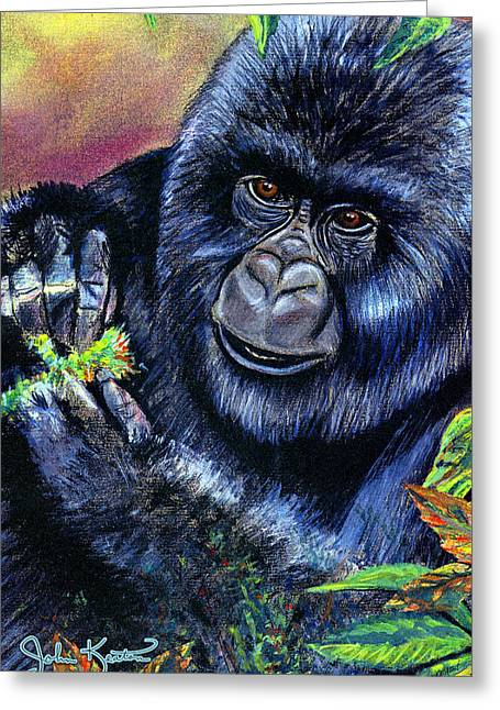 Gorilla Drawings Greeting Cards - Mountain Gorilla Greeting Card by John Keaton