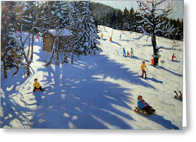 Toboggan Greeting Cards - Mountain hut Greeting Card by Andrew Macara