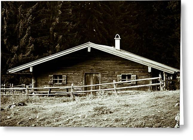 Mountain Hut Greeting Card by Frank Tschakert