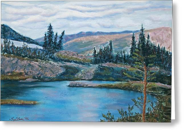 Mountain Lake Greeting Card by Mary Benke