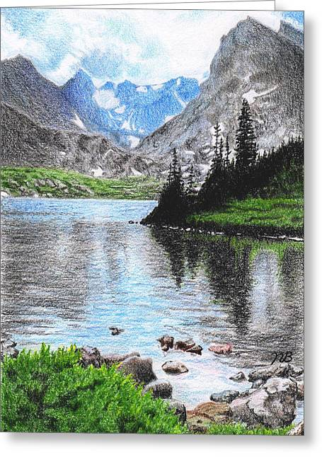 Mountain Lake Greeting Card by Nils Beasley