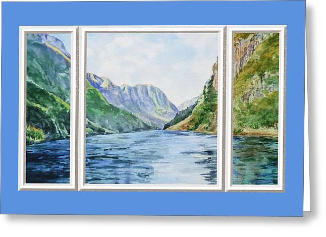 Beach Theme Decorating Greeting Cards - Mountain Lake View Window  Greeting Card by Irina Sztukowski