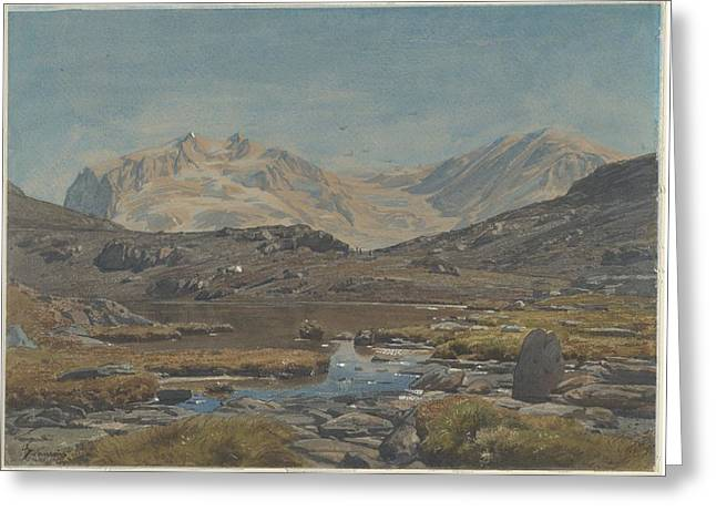 Outlook Drawings Greeting Cards - Mountain Landscape Greeting Card by Francois-louis Francais