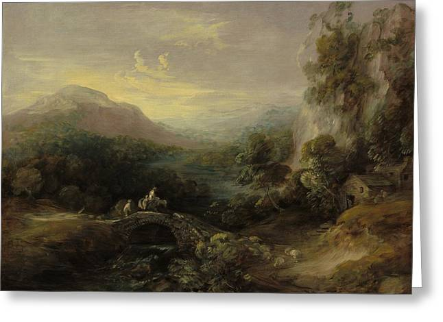 Outlook Paintings Greeting Cards - Mountain Landscape With Bridge Greeting Card by Thomas Gainsborough