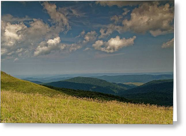 Mystical Landscape Greeting Cards - Mountain landscape with distant peaks Greeting Card by Tomasz Kubis
