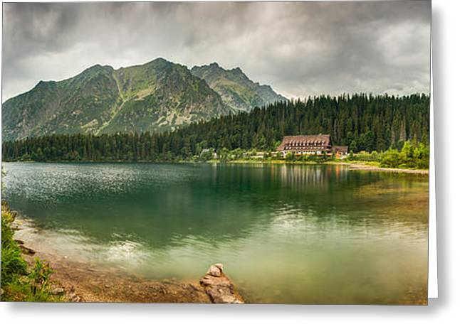 Overcast Day Greeting Cards - Mountain Landscape With Mountain Chalet Greeting Card by Karol Czinege