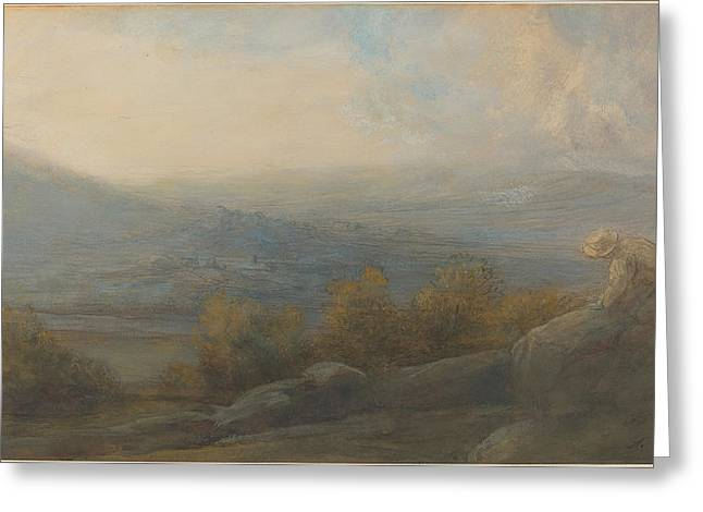 Mountain Landscape With Two Figures At The Right Greeting Card by Alphonse Legros