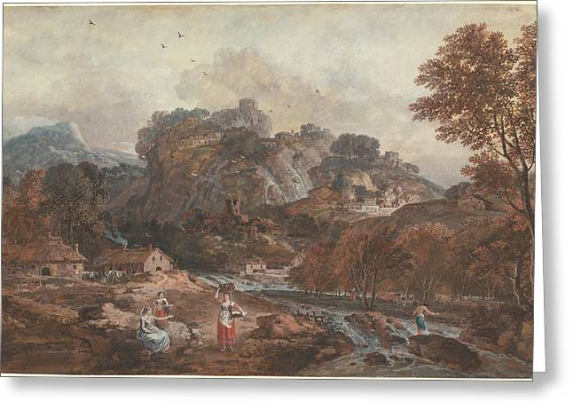 Outlook Greeting Cards - Mountain Landscape With Washerwomen And A Fisherman Greeting Card by Francesco Zuccarelli