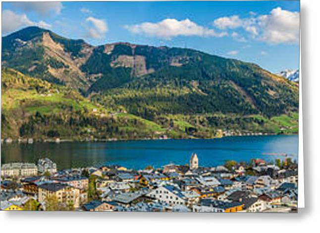 Field. Cloud Greeting Cards - Mountain landscape with Zeller Lake in Zell am See, Austria Greeting Card by JR Photography