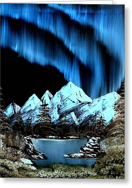 Winter Night Greeting Cards - Mountain Lights Greeting Card by Ryan Heath