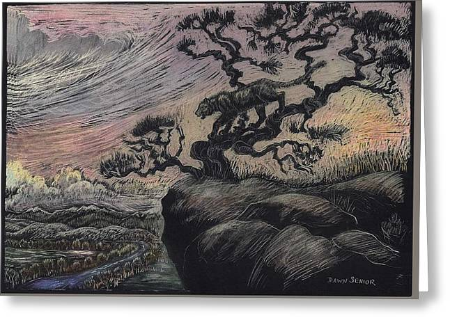 Lions Greeting Cards - Mountain Lion at Sunset Greeting Card by Dawn Senior-Trask