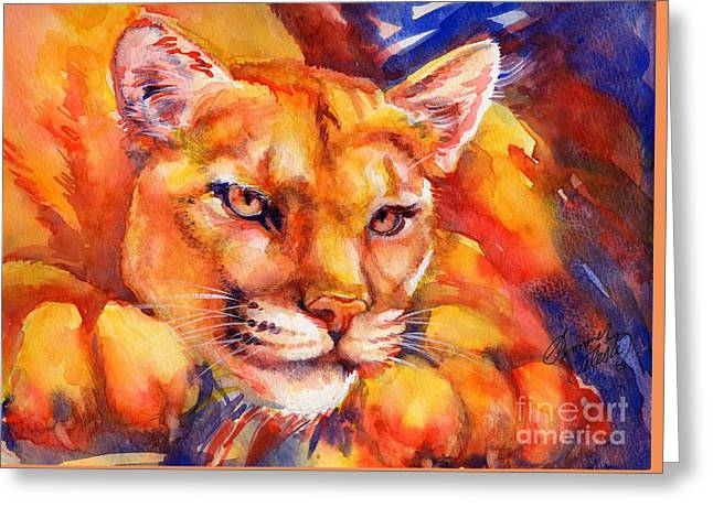 Summer Celeste Greeting Cards - Mountain Lion Red-Yellow-Blue Greeting Card by Summer Celeste