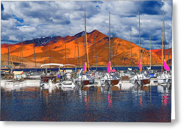 Mountain Marina Greeting Card by Bette Levine