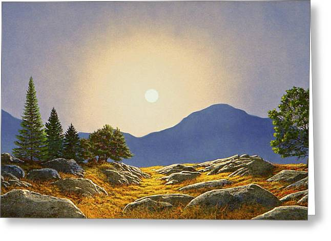 Frank Wilson Greeting Cards - Mountain Meadow In Moonlight Greeting Card by Frank Wilson